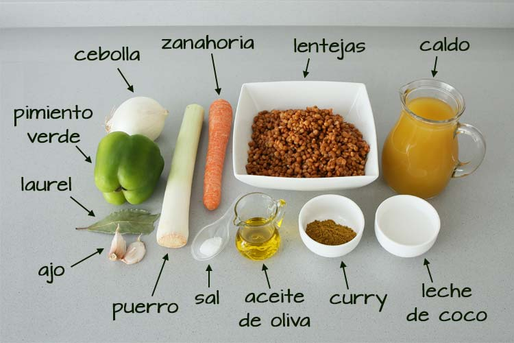 Ingredientes para hacer crema de lentejas al curry